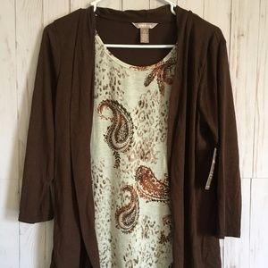 White Stag Brown and Beige Long Sleeve Cardigan M